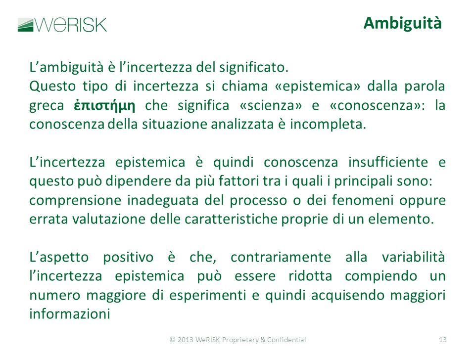 © 2013 WeRISK Proprietary & Confidential13 Ambiguità Lambiguità è lincertezza del significato.