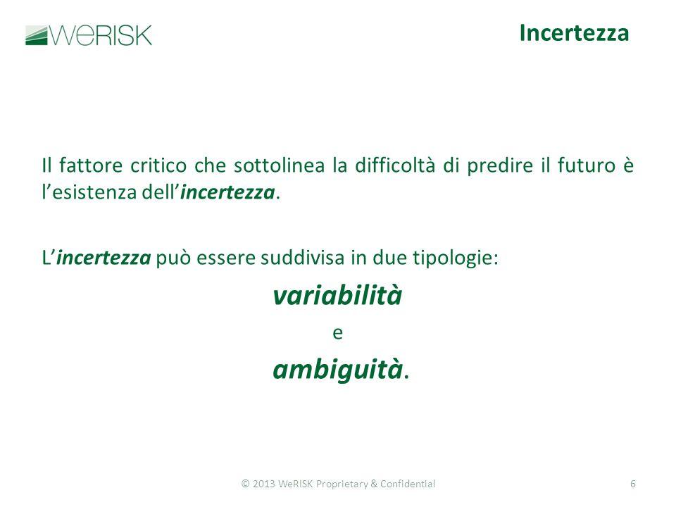 © 2013 WeRISK Proprietary & Confidential6 Il fattore critico che sottolinea la difficoltà di predire il futuro è lesistenza dellincertezza.