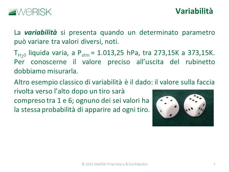 © 2013 WeRISK Proprietary & Confidential7 La variabilità si presenta quando un determinato parametro può variare tra valori diversi, noti.