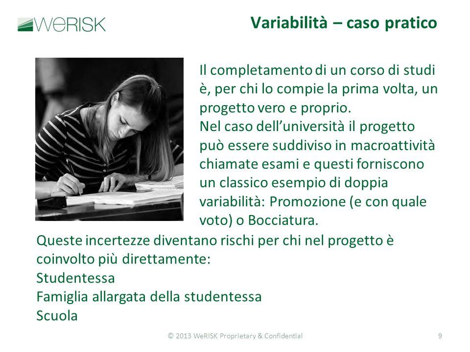 © 2013 WeRISK Proprietary & Confidential9 Il completamento di un corso di studi è, per chi lo compie la prima volta, un progetto vero e proprio.