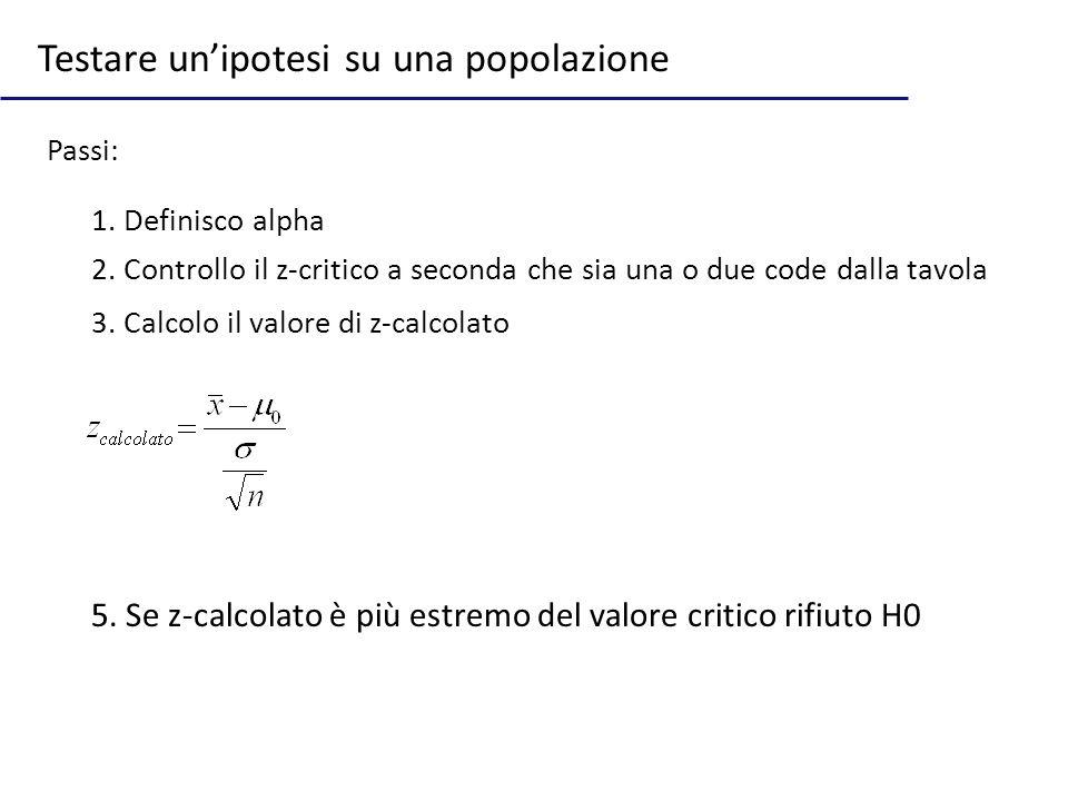 Testare unipotesi su una popolazione Passi: 1. Definisco alpha 5. Se z-calcolato è più estremo del valore critico rifiuto H0 2. Controllo il z-critico