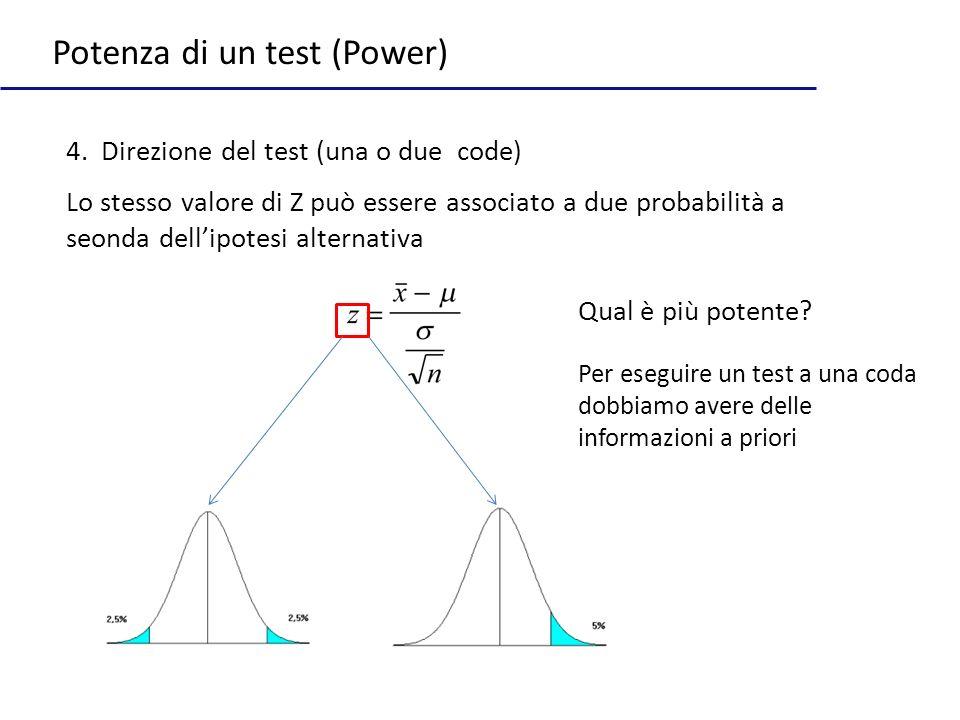 Potenza di un test (Power) 4. Direzione del test (una o due code) Qual è più potente? Lo stesso valore di Z può essere associato a due probabilità a s