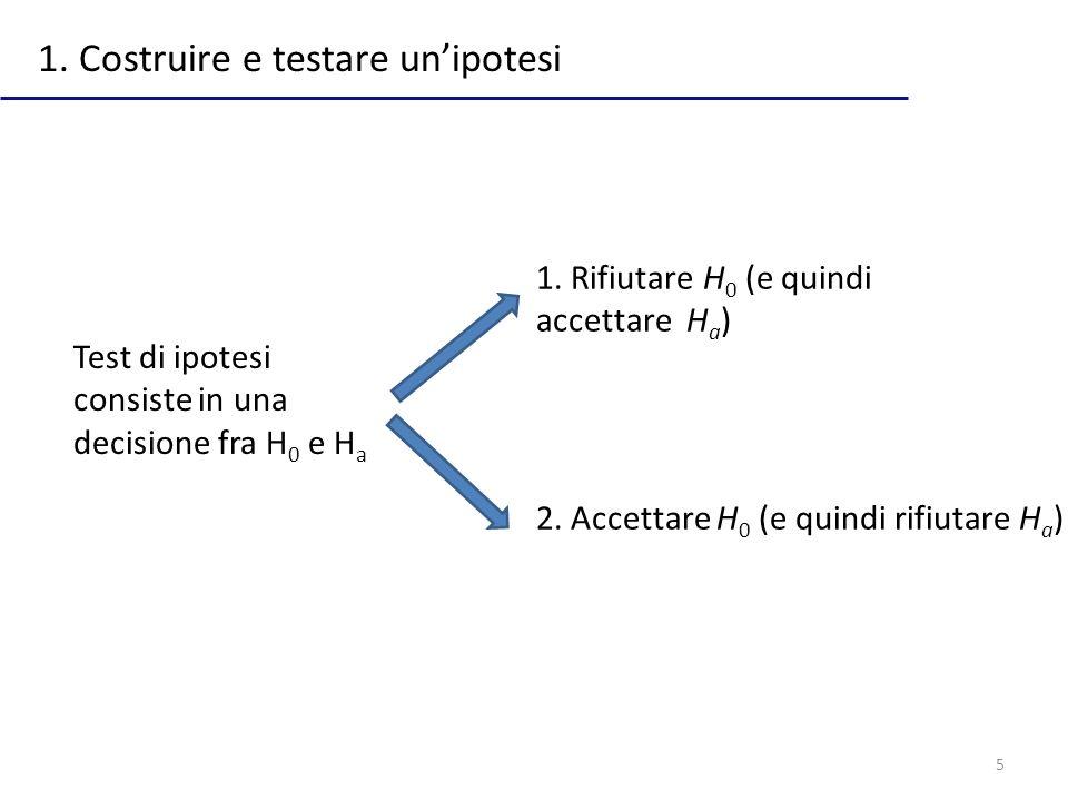 5 1. Costruire e testare unipotesi Test di ipotesi consiste in una decisione fra H 0 e H a 1. Rifiutare H 0 (e quindi accettare H a ) 2. Accettare H 0