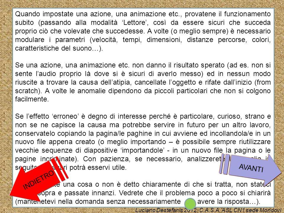 Alcune informazioni generali: Quando si è in modalità Autore nella visualizzazione normale, si hanno due o più suddivisioni verticali della pagina in