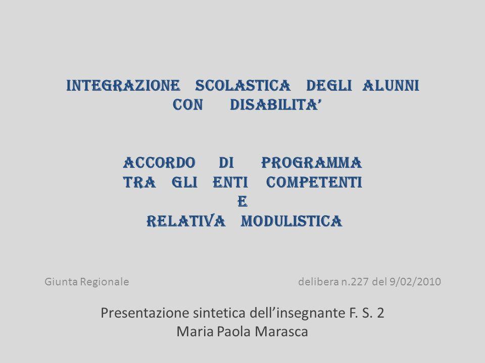 Laccordo di programma intende definire e stimolare modalità e procedure per promuovere la piena integrazione della persona disabile e ha come finalità irrinunciabile il sostegno allo sviluppo delle potenzialità della persona disabile in ogni aspetto.