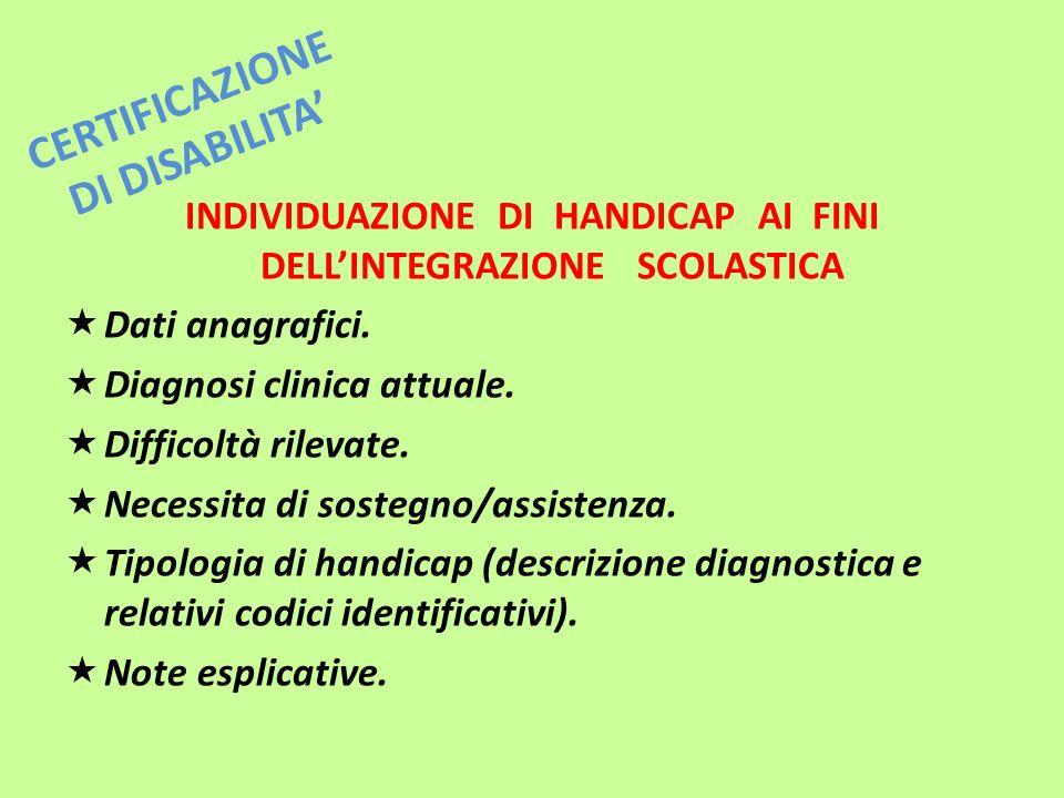 CERTIFICAZIONE DI DISABILITA INDIVIDUAZIONE DI HANDICAP AI FINI DELLINTEGRAZIONE SCOLASTICA Dati anagrafici. Diagnosi clinica attuale. Difficoltà rile