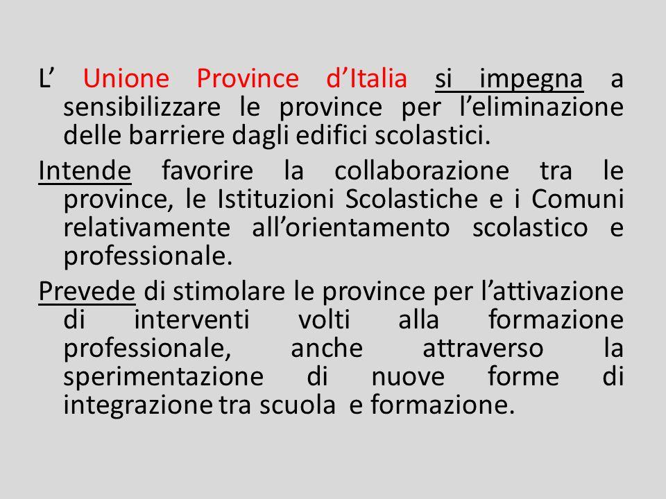 L Associazione Nazionale Comuni Italiani si impegna a svolgere unattività di stimolo e di sostegno al fine di promuovere accordi di programma provinciali.