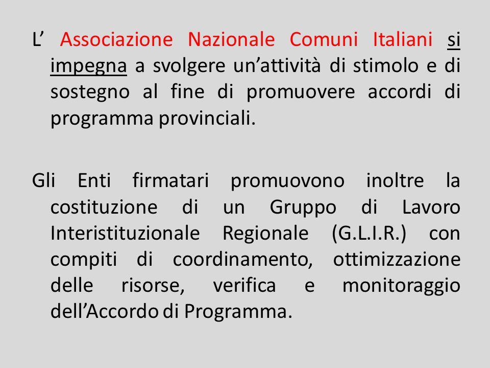 L Associazione Nazionale Comuni Italiani si impegna a svolgere unattività di stimolo e di sostegno al fine di promuovere accordi di programma provinci