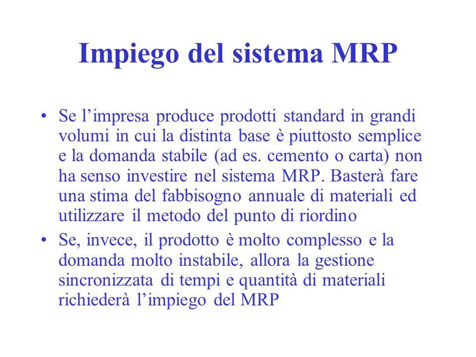 Impiego del sistema MRP Se limpresa produce prodotti standard in grandi volumi in cui la distinta base è piuttosto semplice e la domanda stabile (ad es.