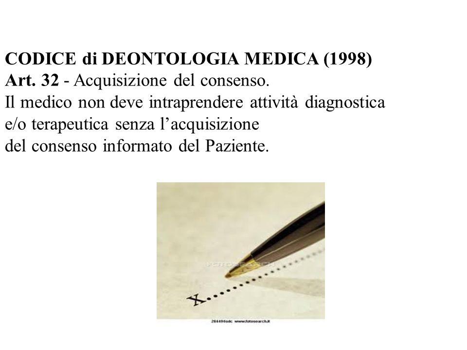 CODICE di DEONTOLOGIA MEDICA (1998) Art. 32 - Acquisizione del consenso. Il medico non deve intraprendere attività diagnostica e/o terapeutica senza l