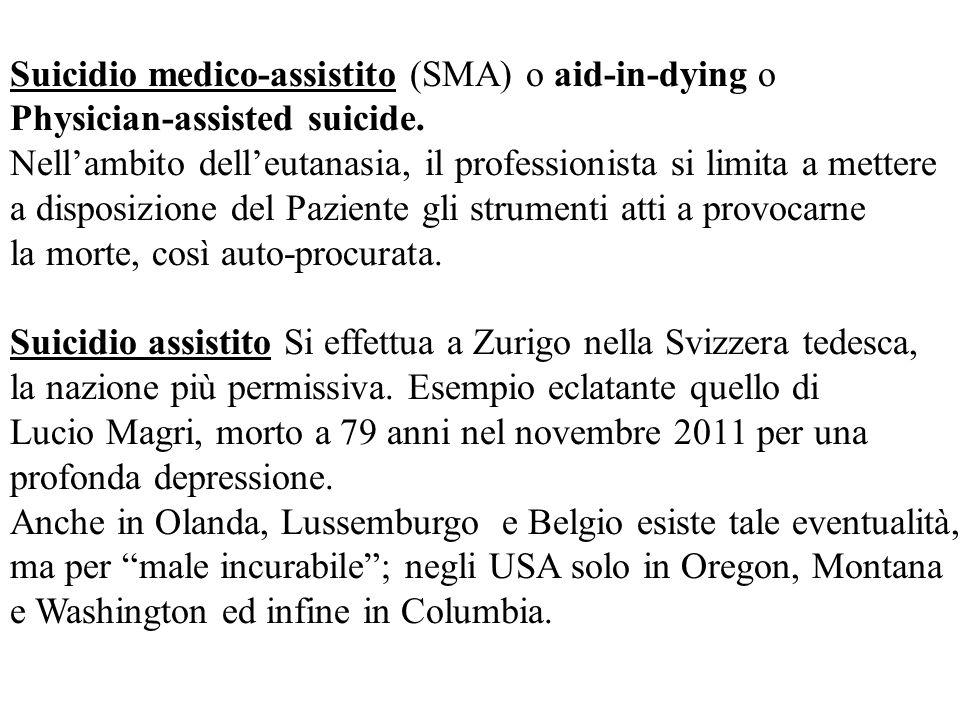 Suicidio medico-assistito (SMA) o aid-in-dying o Physician-assisted suicide. Nellambito delleutanasia, il professionista si limita a mettere a disposi