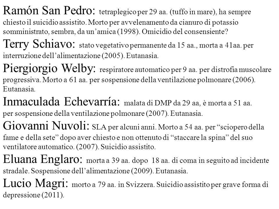Ramón San Pedro: tetraplegico per 29 aa. (tuffo in mare), ha sempre chiesto il suicidio assistito. Morto per avvelenamento da cianuro di potassio somm