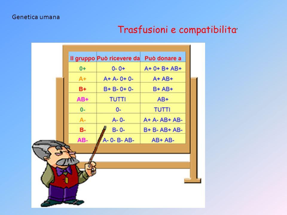 Genetica umana Trasfusioni e compatibilita