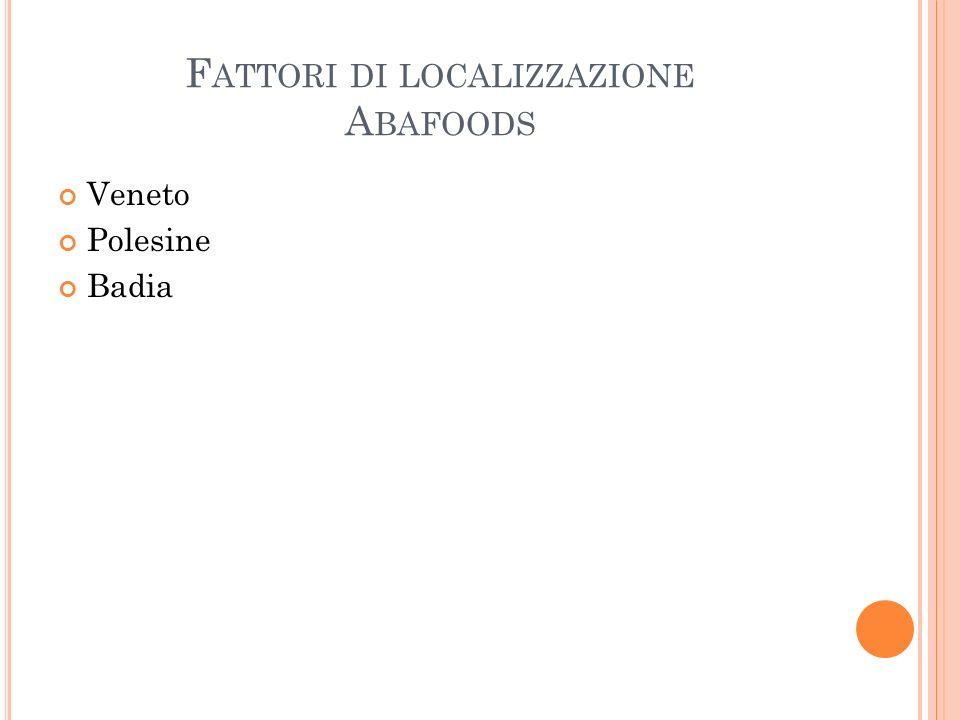 F ATTORI DI LOCALIZZAZIONE A BAFOODS Veneto Polesine Badia