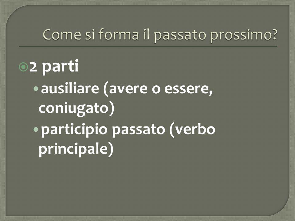 2 parti ausiliare (avere o essere, coniugato) participio passato (verbo principale)