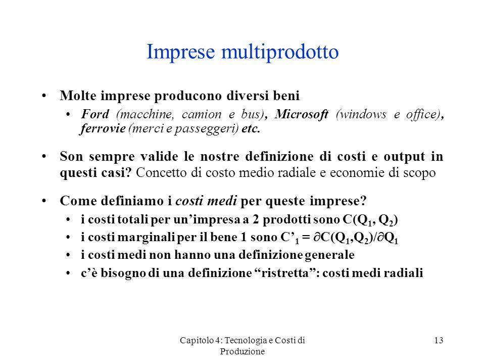 Capitolo 4: Tecnologia e Costi di Produzione 13 Imprese multiprodotto Molte imprese producono diversi beni Ford (macchine, camion e bus), Microsoft (w