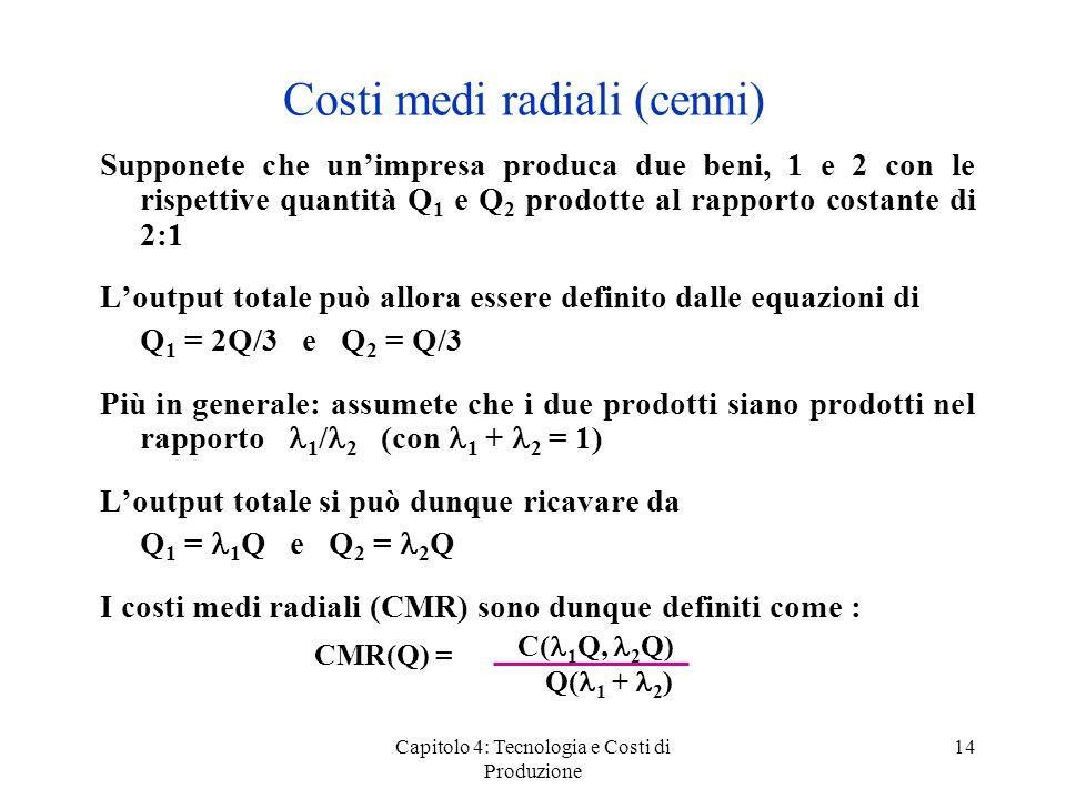 Capitolo 4: Tecnologia e Costi di Produzione 14 Costi medi radiali (cenni) Supponete che unimpresa produca due beni, 1 e 2 con le rispettive quantità