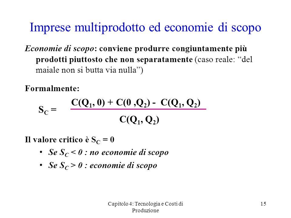 Capitolo 4: Tecnologia e Costi di Produzione 15 Imprese multiprodotto ed economie di scopo Economie di scopo: conviene produrre congiuntamente più pro