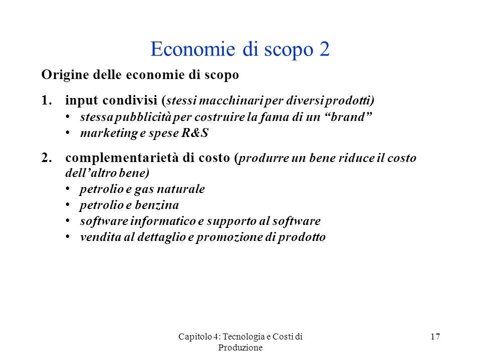 Capitolo 4: Tecnologia e Costi di Produzione 17 Origine delle economie di scopo 1.input condivisi ( stessi macchinari per diversi prodotti) stessa pub