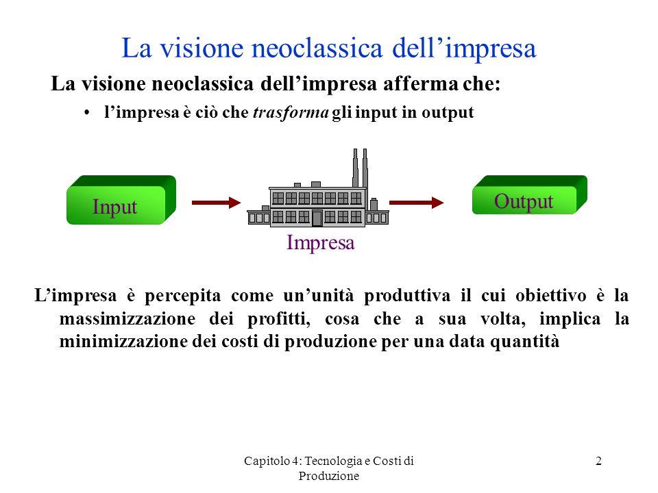 Capitolo 4: Tecnologia e Costi di Produzione 2 La visione neoclassica dellimpresa La visione neoclassica dellimpresa afferma che: limpresa è ciò che t