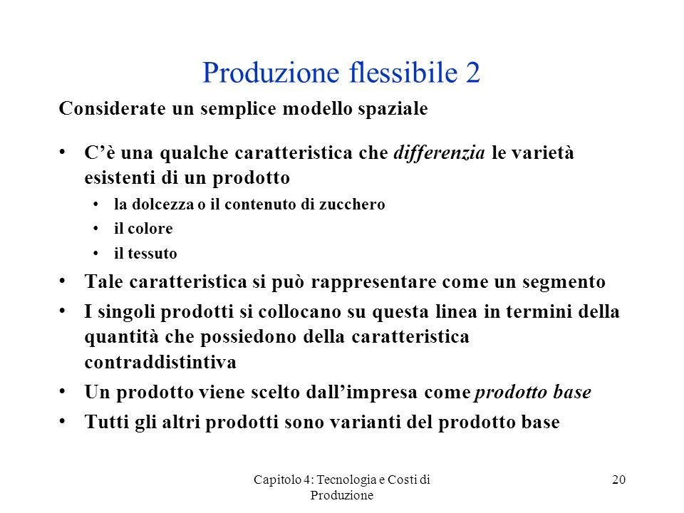 Capitolo 4: Tecnologia e Costi di Produzione 20 Produzione flessibile 2 Considerate un semplice modello spaziale Cè una qualche caratteristica che dif
