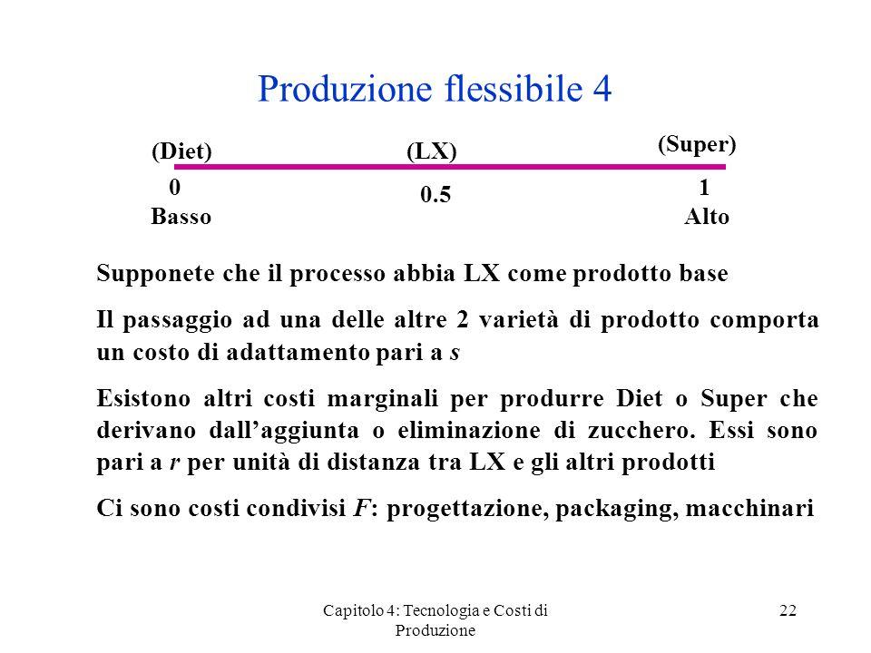 Capitolo 4: Tecnologia e Costi di Produzione 22 Produzione flessibile 4 Supponete che il processo abbia LX come prodotto base Il passaggio ad una dell
