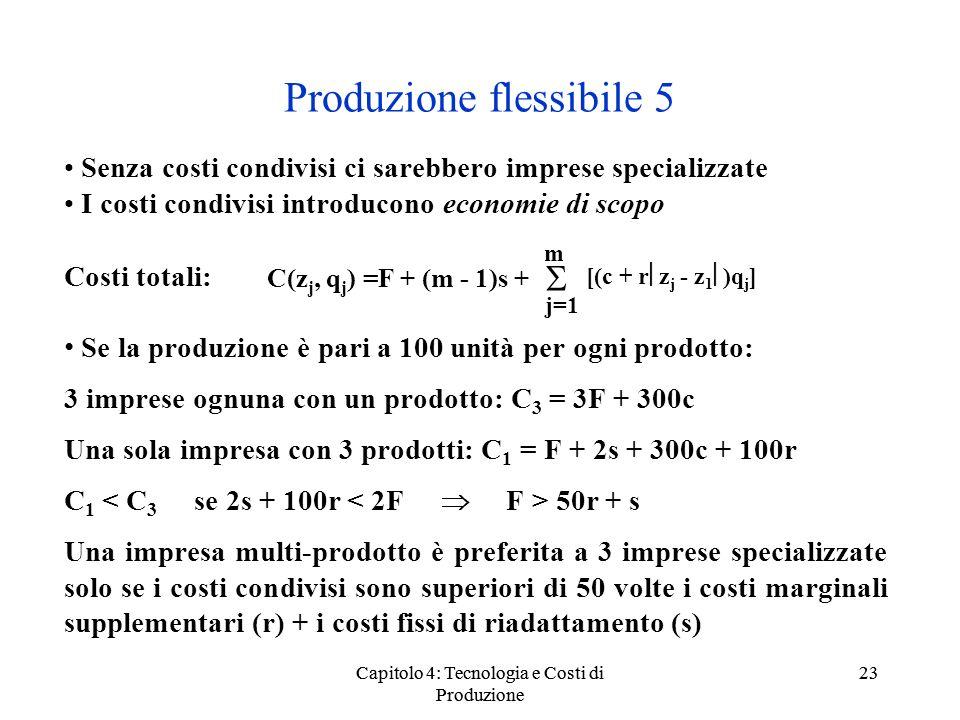 Capitolo 4: Tecnologia e Costi di Produzione 23 Produzione flessibile 5 Senza costi condivisi ci sarebbero imprese specializzate I costi condivisi int