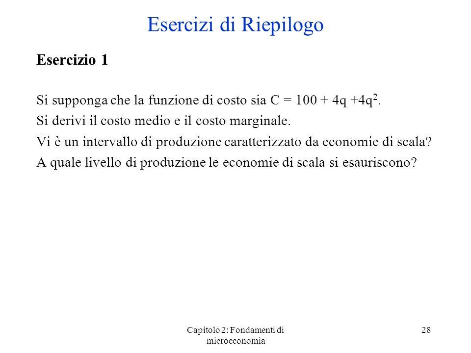 Capitolo 2: Fondamenti di microeconomia 28 Esercizio 1 Si supponga che la funzione di costo sia C = 100 + 4q +4q 2. Si derivi il costo medio e il cost