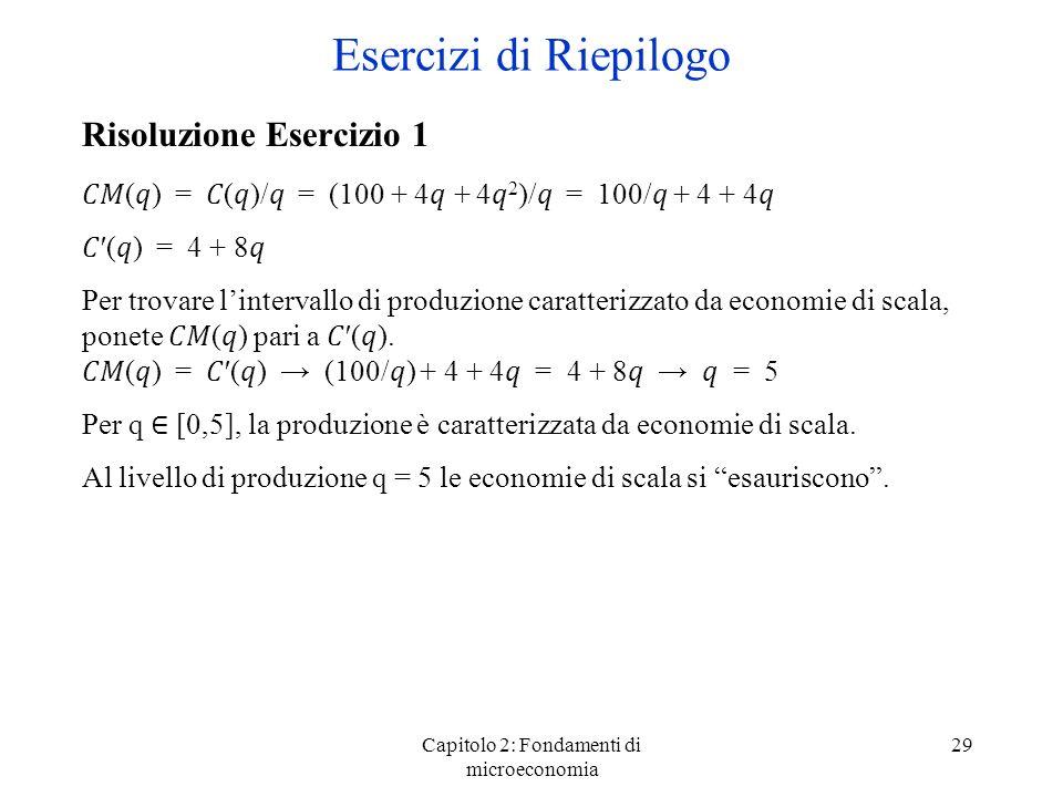 Capitolo 2: Fondamenti di microeconomia 29 Risoluzione Esercizio 1 () = ()/ = (100 + 4 + 4 2 )/ = 100/ + 4 + 4 () = 4 + 8 Per trovare lintervallo di p