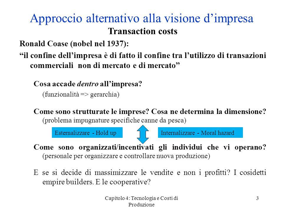 Capitolo 4: Tecnologia e Costi di Produzione 3 Approccio alternativo alla visione dimpresa Transaction costs Ronald Coase (nobel nel 1937): il confine