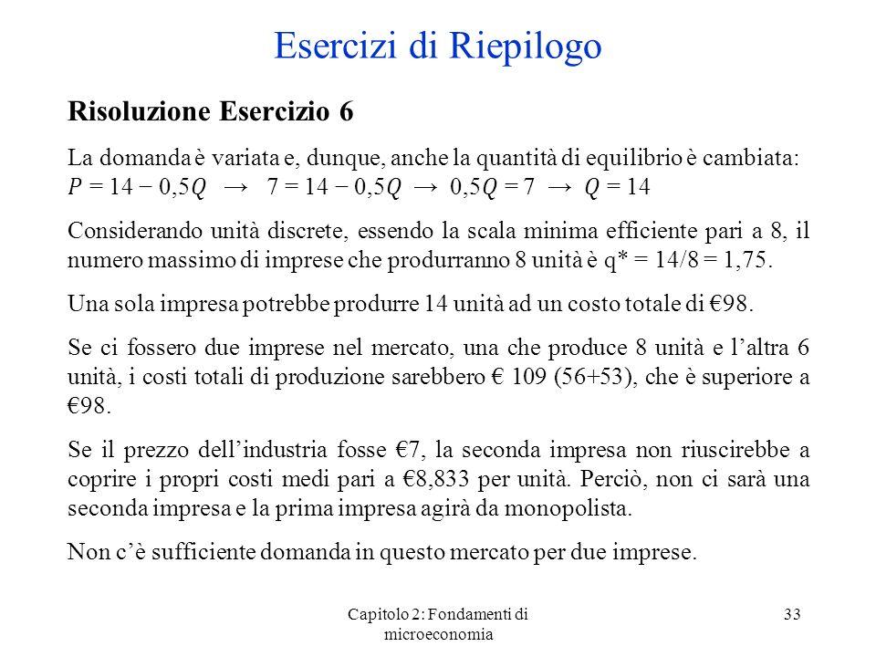 Capitolo 2: Fondamenti di microeconomia 33 Risoluzione Esercizio 6 La domanda è variata e, dunque, anche la quantità di equilibrio è cambiata: = 14 0,