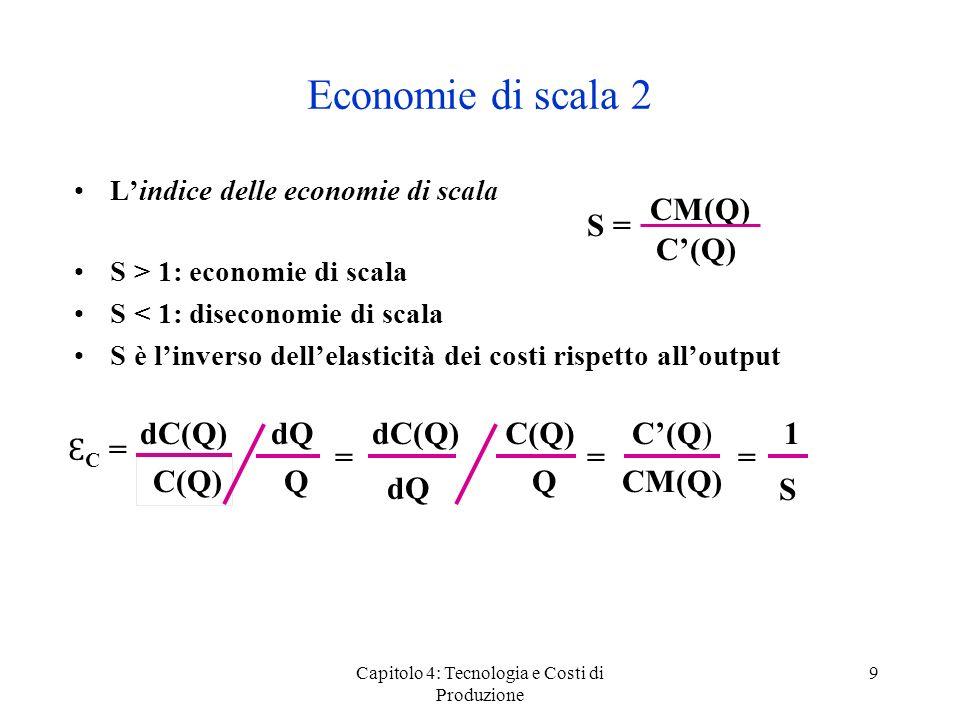 Capitolo 4: Tecnologia e Costi di Produzione 9 Economie di scala 2 Lindice delle economie di scala S > 1: economie di scala S < 1: diseconomie di scal
