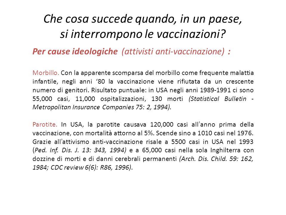 Per cause ideologiche (attivisti anti-vaccinazione) : Morbillo. Con la apparente scomparsa del morbillo come frequente malattia infantile, negli anni
