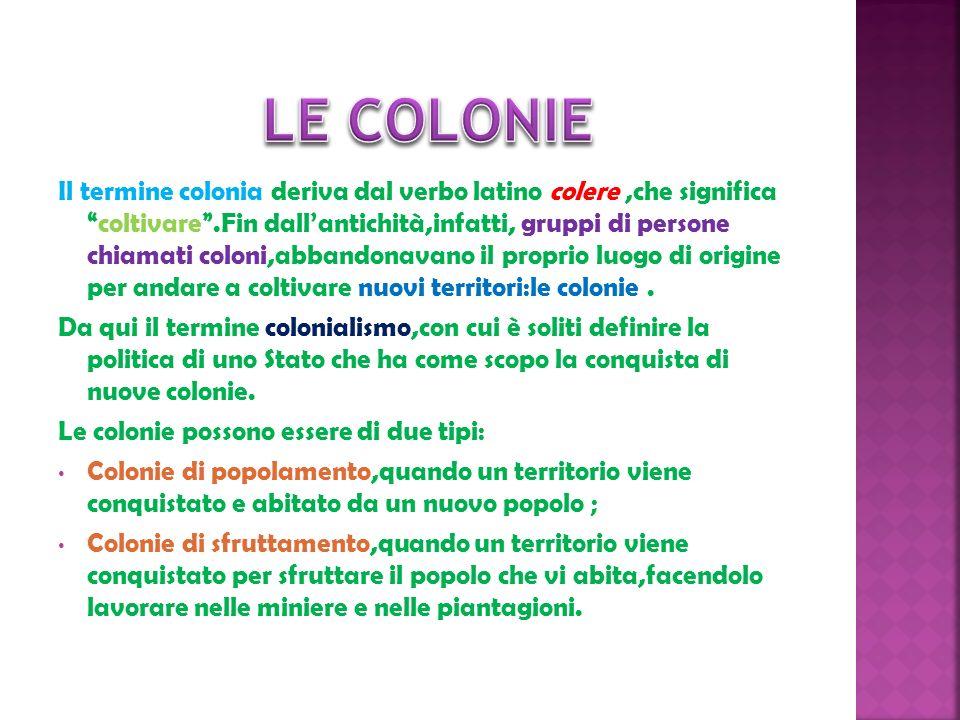 Il termine colonia deriva dal verbo latino colere,che significacoltivare.Fin dallantichità,infatti, gruppi di persone chiamati coloni,abbandonavano il