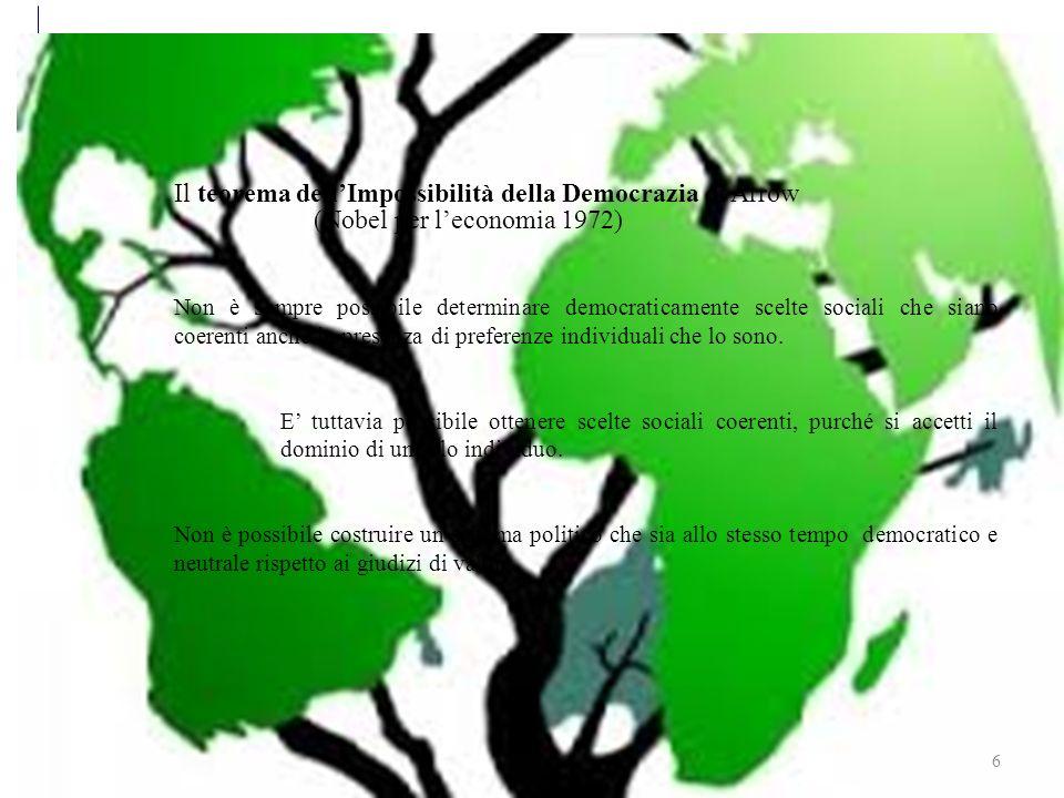 Sviluppo sostenibile 6 Il teorema dellImpossibilità della Democrazia di Arrow (Nobel per leconomia 1972) Non è sempre possibile determinare democraticamente scelte sociali che siano coerenti anche in presenza di preferenze individuali che lo sono.