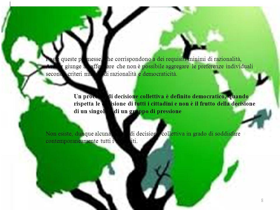 Sviluppo sostenibile 8 Poste queste premesse, che corrispondono a dei requisiti minimi di razionalità, Arrow giunge ad affermare che non è possibile aggregare le preferenze individuali secondo criteri minimi di razionalità e democraticità.