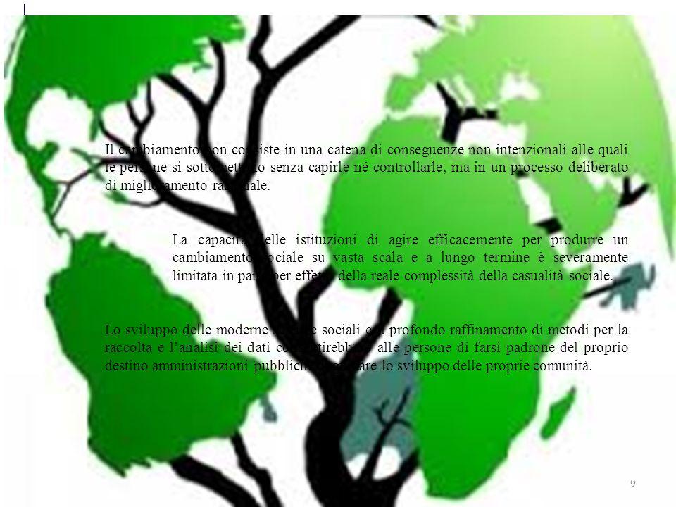 Sviluppo sostenibile 9 Il cambiamento non consiste in una catena di conseguenze non intenzionali alle quali le persone si sottomettono senza capirle né controllarle, ma in un processo deliberato di miglioramento razionale.