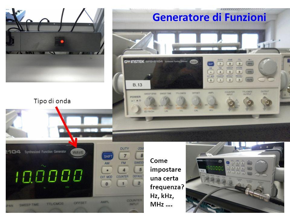 Generatore di Funzioni Tipo di onda Come impostare una certa frequenza? Hz, kHz, MHz ….
