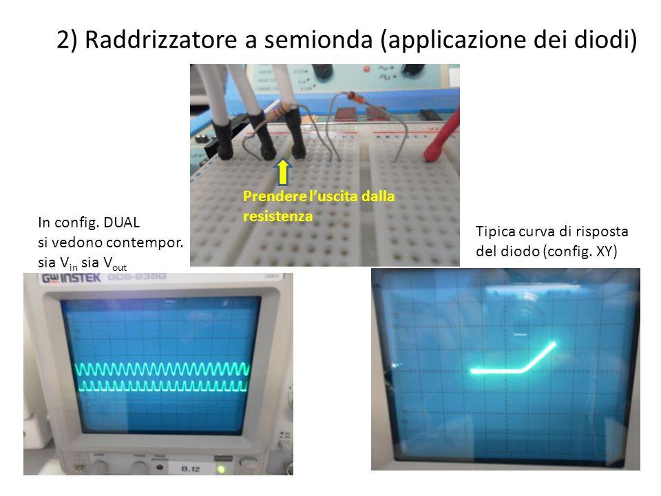 2) Raddrizzatore a semionda (applicazione dei diodi) In config. DUAL si vedono contempor. sia V in sia V out Tipica curva di risposta del diodo (confi