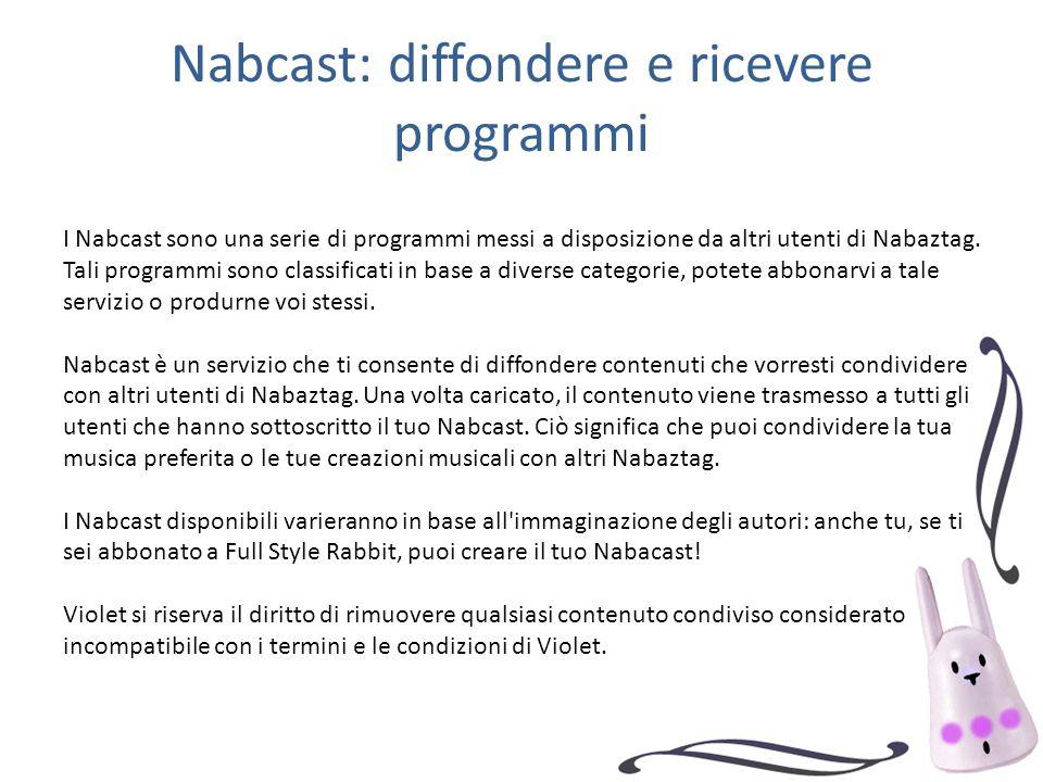 Nabcast: diffondere e ricevere programmi I Nabcast sono una serie di programmi messi a disposizione da altri utenti di Nabaztag. Tali programmi sono c