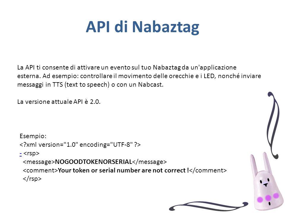 API di Nabaztag La API ti consente di attivare un evento sul tuo Nabaztag da un'applicazione esterna. Ad esempio: controllare il movimento delle orecc