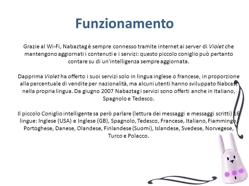 Grazie al Wi-Fi, Nabaztag è sempre connesso tramite internet ai server di Violet che mantengono aggiornati i contenuti e i servizi: questo piccolo coniglio può pertanto contare su di un intelligenza sempre aggiornata.