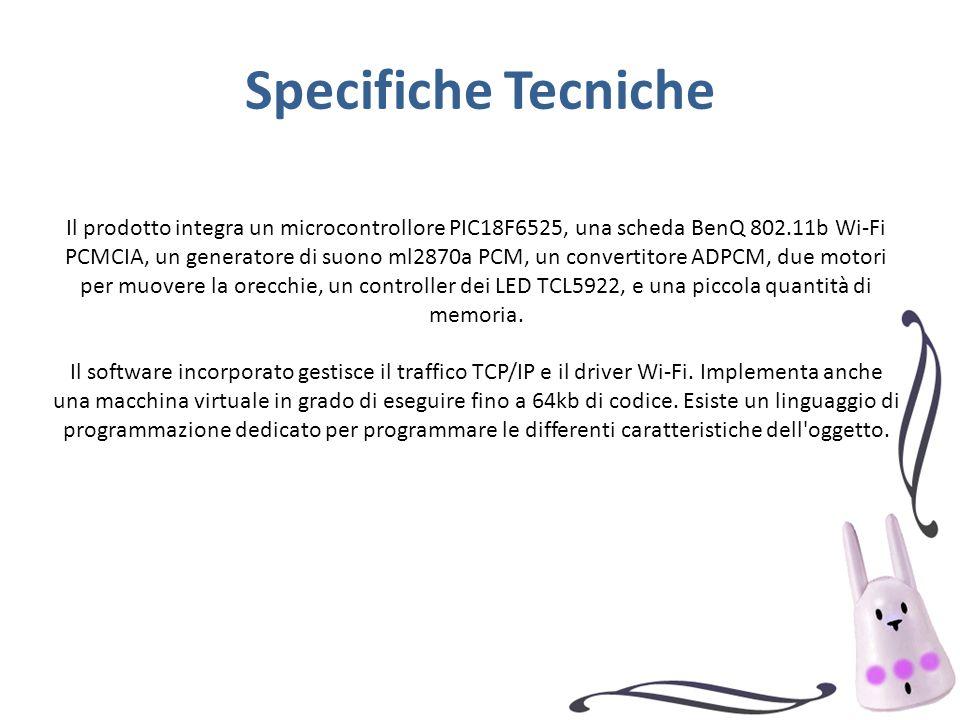 Specifiche Tecniche Il prodotto integra un microcontrollore PIC18F6525, una scheda BenQ 802.11b Wi-Fi PCMCIA, un generatore di suono ml2870a PCM, un convertitore ADPCM, due motori per muovere la orecchie, un controller dei LED TCL5922, e una piccola quantità di memoria.
