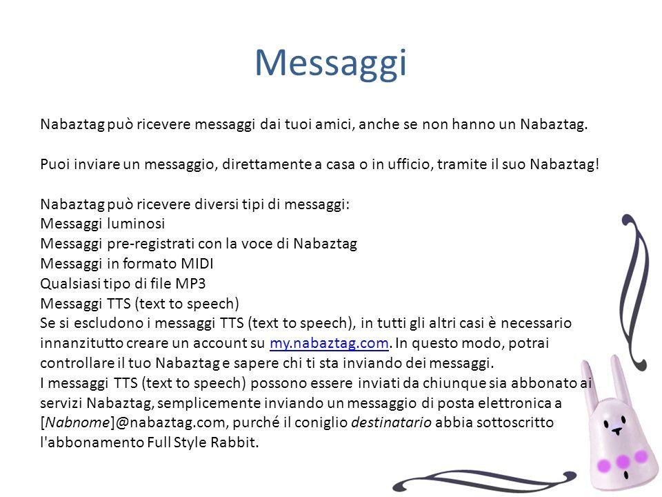 Messaggi Nabaztag può ricevere messaggi dai tuoi amici, anche se non hanno un Nabaztag. Puoi inviare un messaggio, direttamente a casa o in ufficio, t
