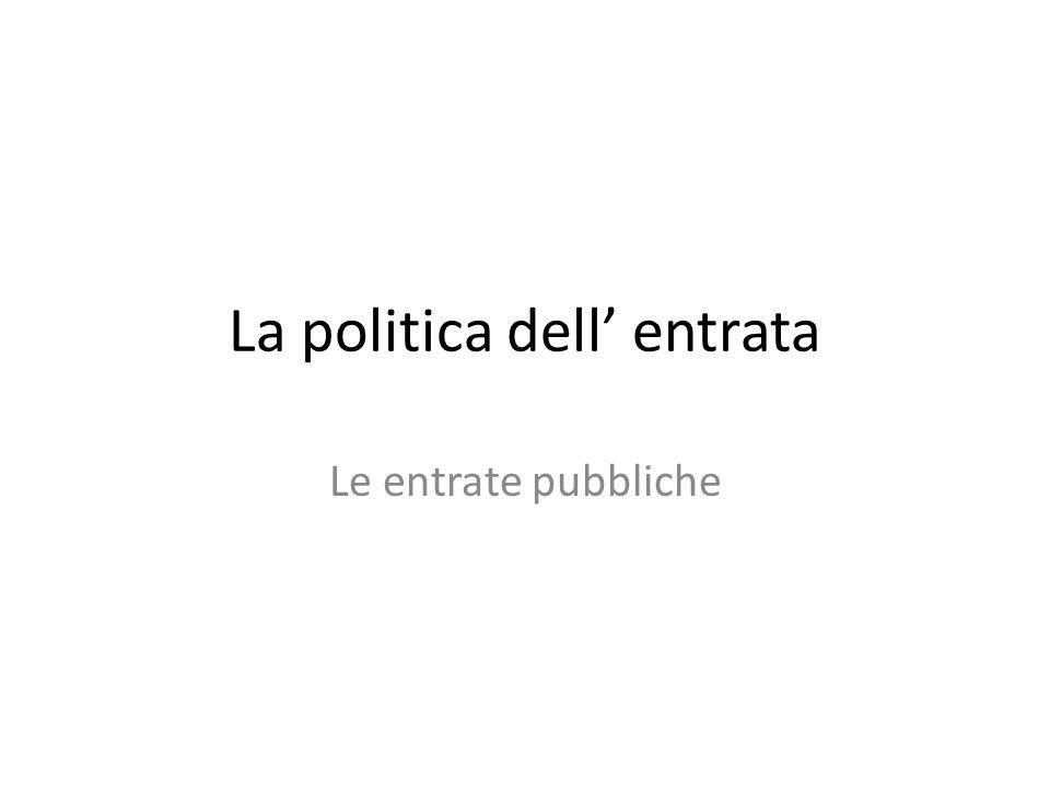 La politica dell entrata Le entrate pubbliche