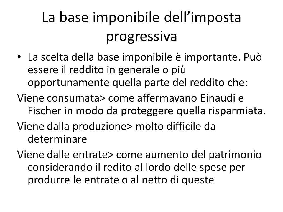 La base imponibile dellimposta progressiva La scelta della base imponibile è importante. Può essere il reddito in generale o più opportunamente quella