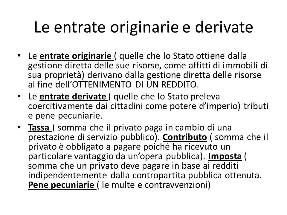 Le entrate originarie e derivate Le entrate originarie ( quelle che lo Stato ottiene dalla gestione diretta delle sue risorse, come affitti di immobil