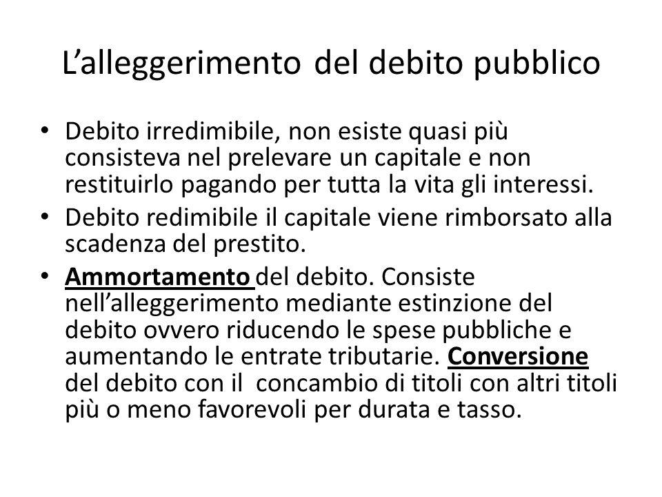 Lalleggerimento del debito pubblico Debito irredimibile, non esiste quasi più consisteva nel prelevare un capitale e non restituirlo pagando per tutta