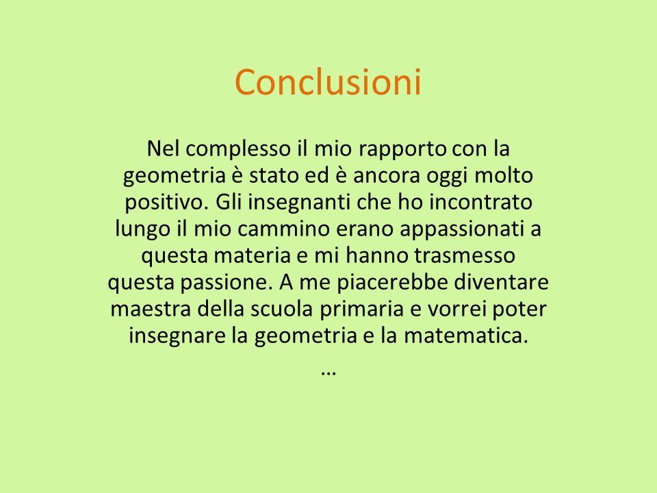 Conclusioni Nel complesso il mio rapporto con la geometria è stato ed è ancora oggi molto positivo. Gli insegnanti che ho incontrato lungo il mio camm