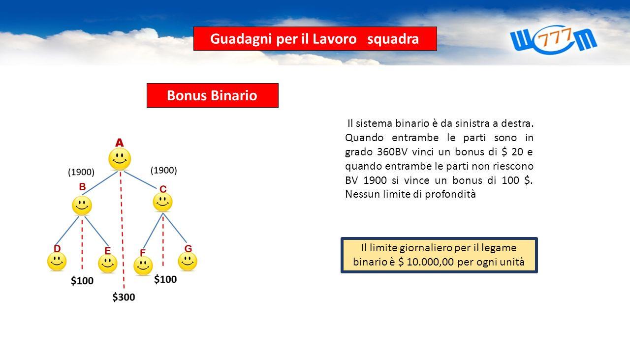 Ganancias por Trabajo en Equipo Bonus Binario Il sistema binario è da sinistra a destra. Quando entrambe le parti sono in grado 360BV vinci un bonus d